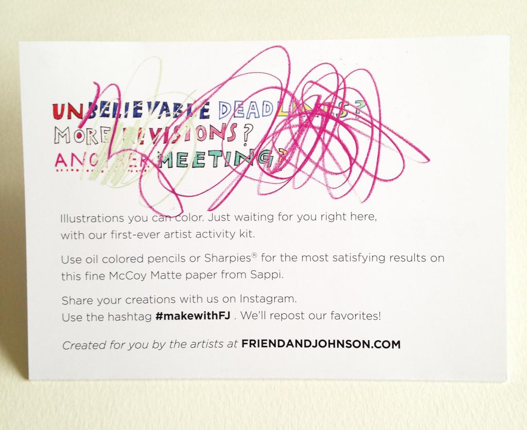 direct mail coloring cards from Shana Torok, Patrick Hruby, Jill Calder and Rinee Shah