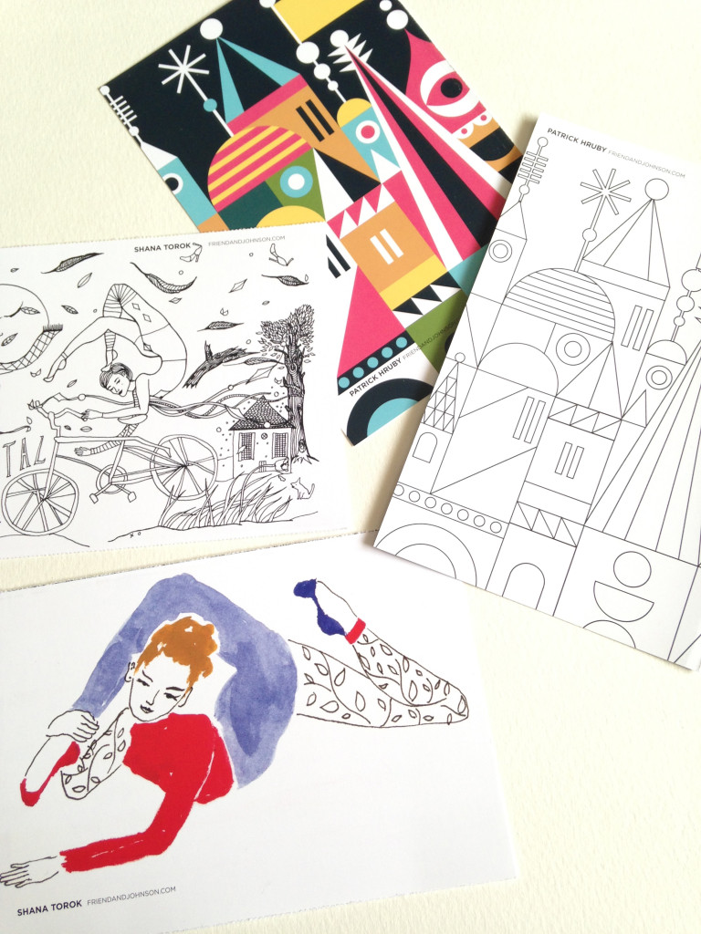 Coloring cards by Friend and Johnson illustrators