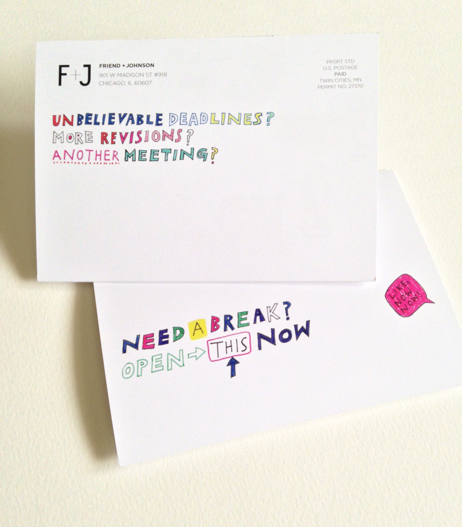 Coloring cards created by the illustrators at Friend and Johnson
