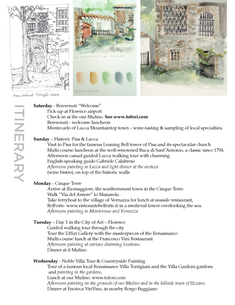 Watercolor workshop in Tuscany May_2016 with Coco Connolly