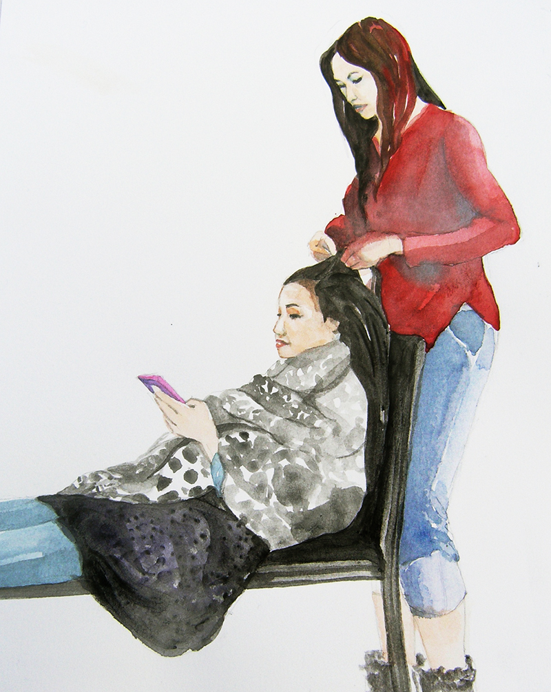 women working, watercolor, portrait