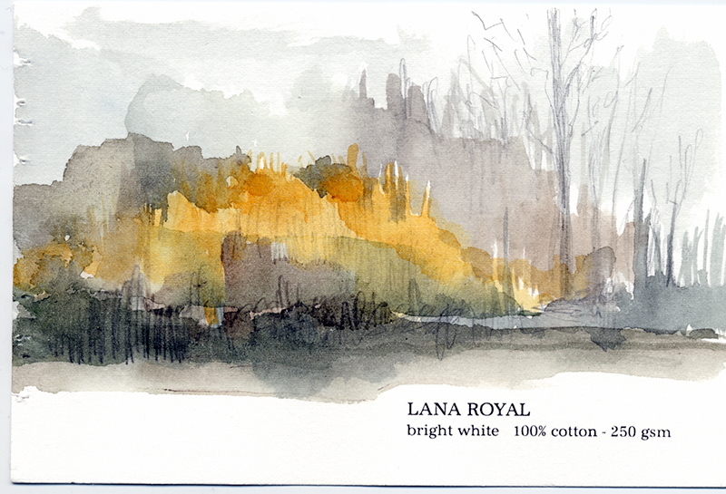 sketching my landscape on small paper samples from Legion Paper in NY
