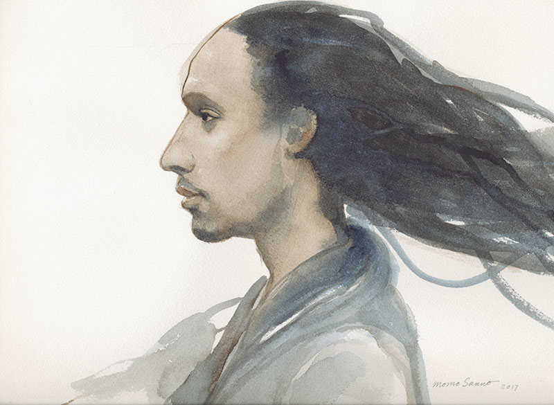 portraits, watercolor, dancers, Momo Sanno